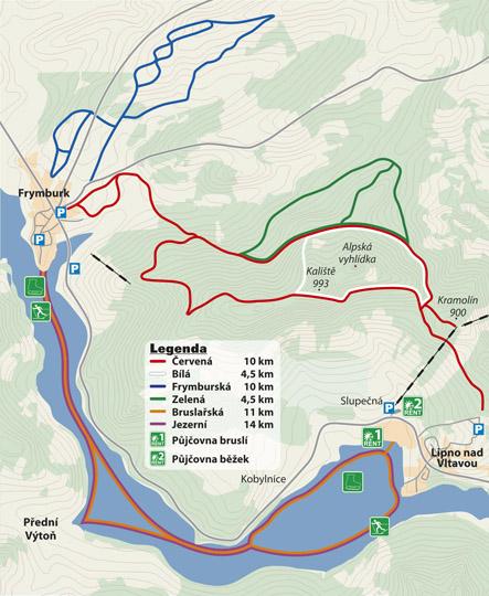 Běžecké trasy Frymburk